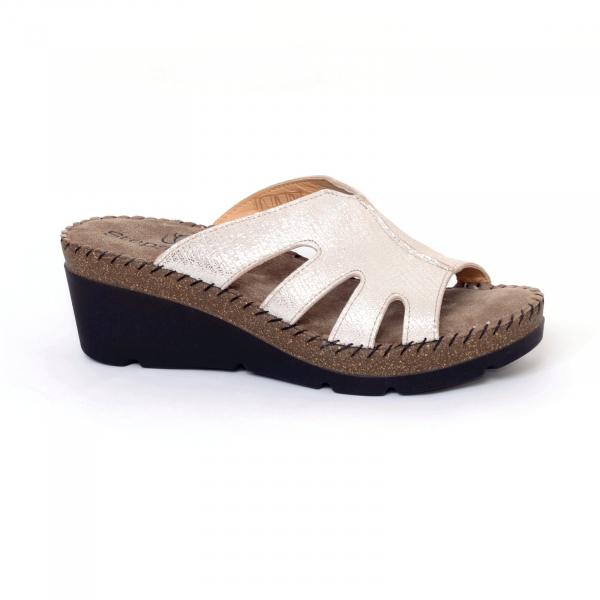 Papuci din piele naturala 6080 Gold 0