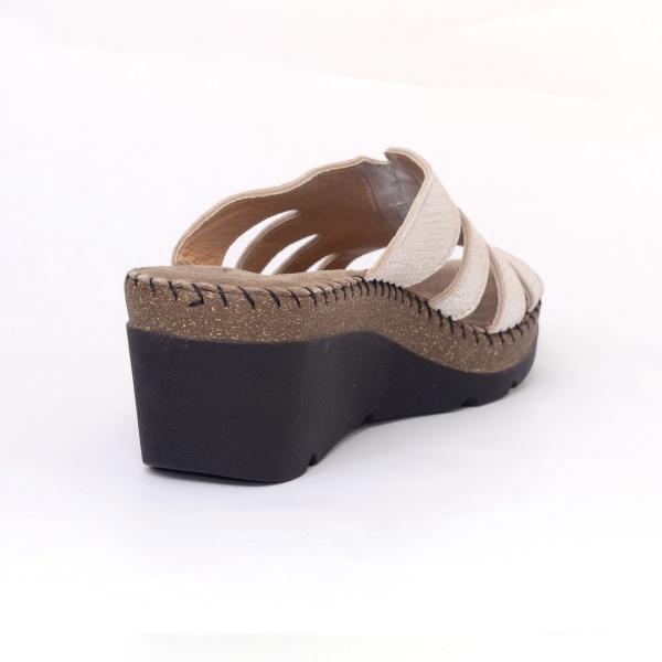 Papuci din piele naturala 6080 Gold 1