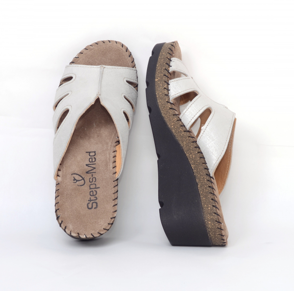 Papuci din piele naturala 6080 Grey 2