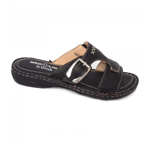 Papuci din piele naturala Medline, 404 Negru 0