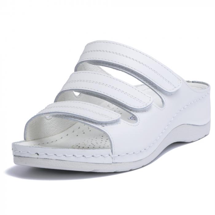 Papuci  din piele naturala 255 Alb [2]