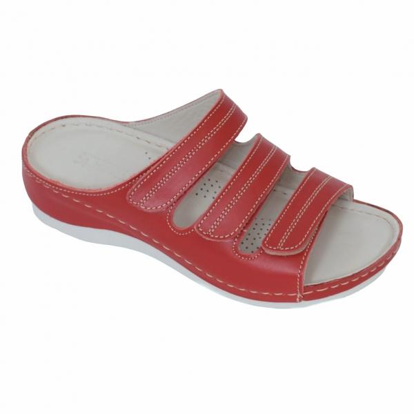 Papuci medicali din piele naturala 255 rosu 0