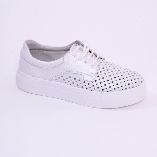 Pantofi casual dama 574 Alb Sidefat 0