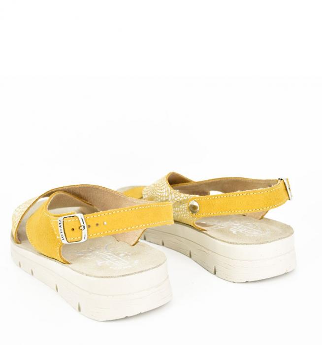 Sandale din piele naturala  FLY FLOT 169 Galben 2