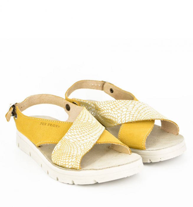 Sandale din piele naturala  FLY FLOT 169 Galben 1