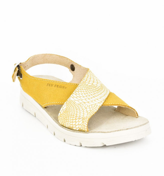 Sandale din piele naturala  FLY FLOT 169 Galben 0