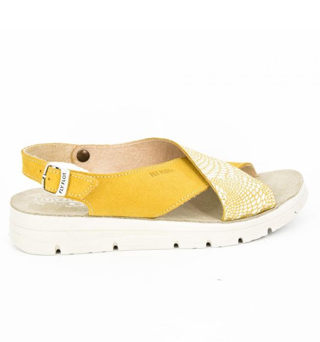Sandale din piele naturala  FLY FLOT 169 Galben 3