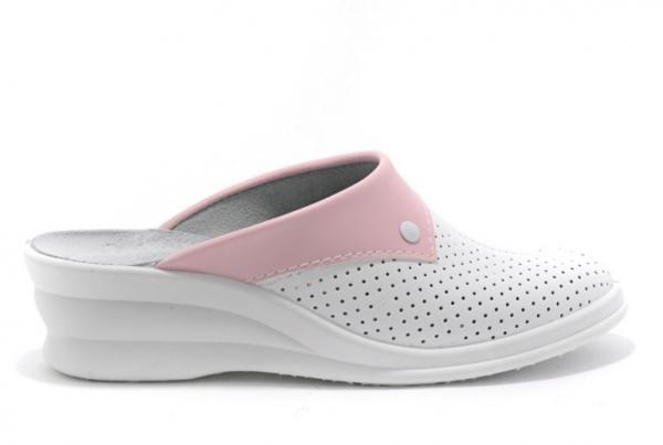 Saboti medicali piele 591 alb+roz 2