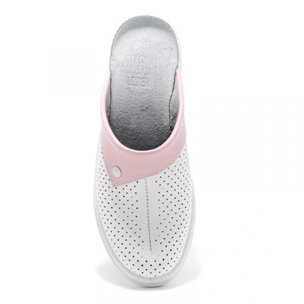 Saboti medicali piele 591 alb+roz 1