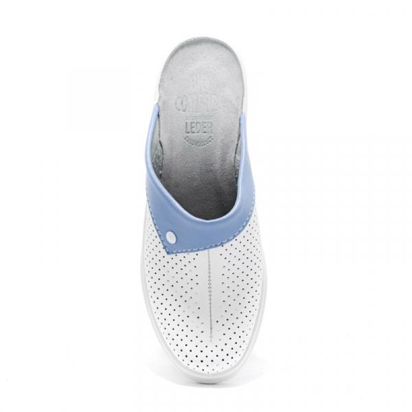 Saboti piele naturala 591 alb+albastru 1