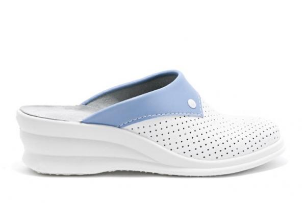 Saboti piele naturala 591 alb+albastru 2