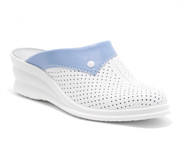 Saboti piele naturala 591 alb+albastru 0