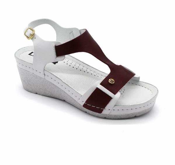 Sandale confortabile 1010 Alb cu Bordo 0