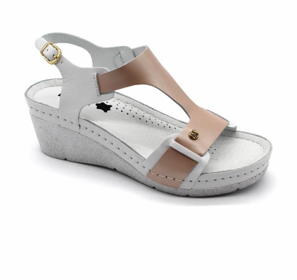 Sandale confortabile 1010 Alb cu Somon 0