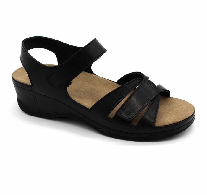 Sandale confortabile cu taloneta detasabila Leon 2021 negru [0]