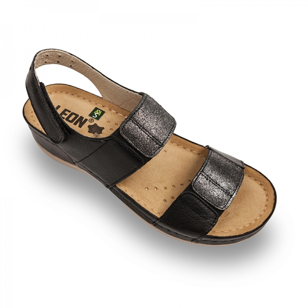 Sandale confortabile Leon 945 Negru [0]