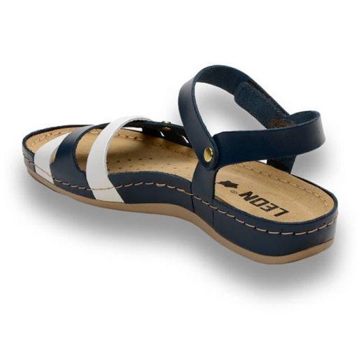 Sandale confortabile Leon 961 Albastru-Alb 2