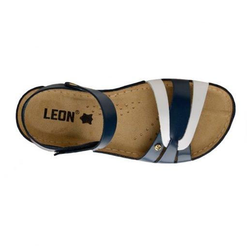 Sandale confortabile Leon 961 Albastru-Alb 4