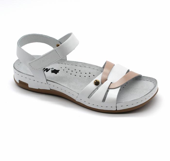 Sandale confortabile Leon 961alb cu somon [0]