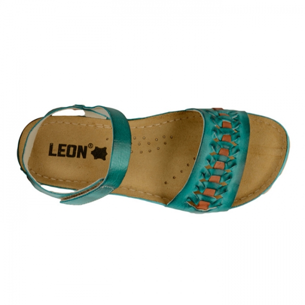 Sandale confortabile Leon 964 Turcoaz 4