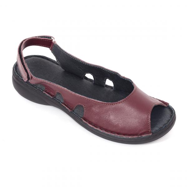 Sandale din piele naturala 230 bordo 0