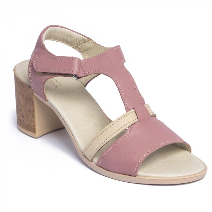 Sandale din piele naturala 260 Roz 2