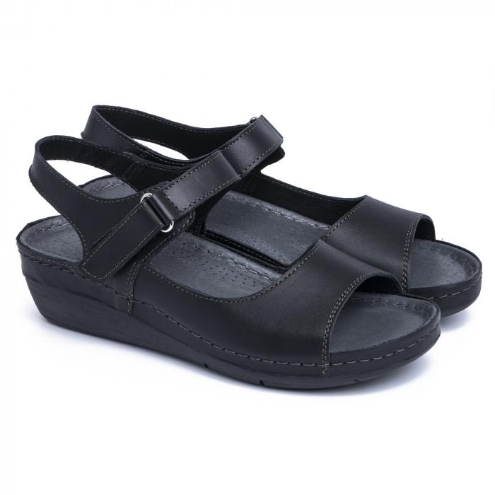 Sandale din piele naturala 257 Negru 1