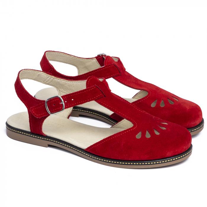 Sandale din piele naturala 281 Rosu Velur 1