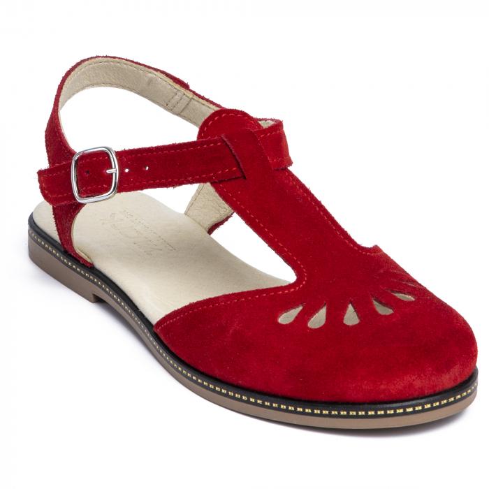 Sandale din piele naturala 281 Rosu Velur 2