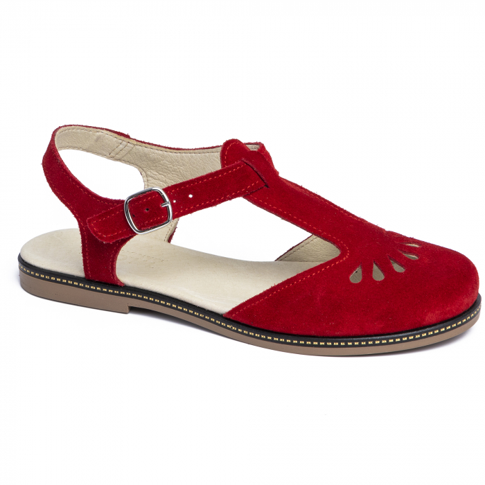 Sandale din piele naturala 281 Rosu Velur 0
