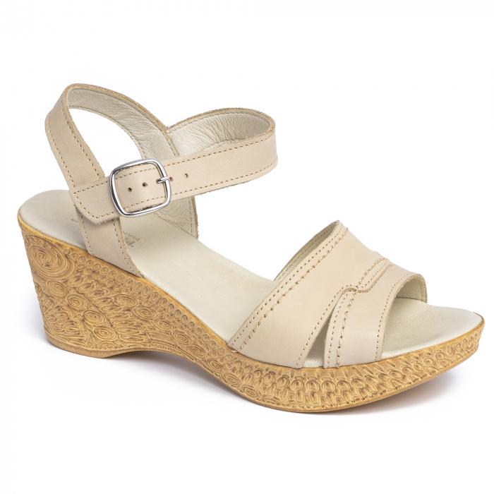 Sandale din piele naturala 195 Bej [0]