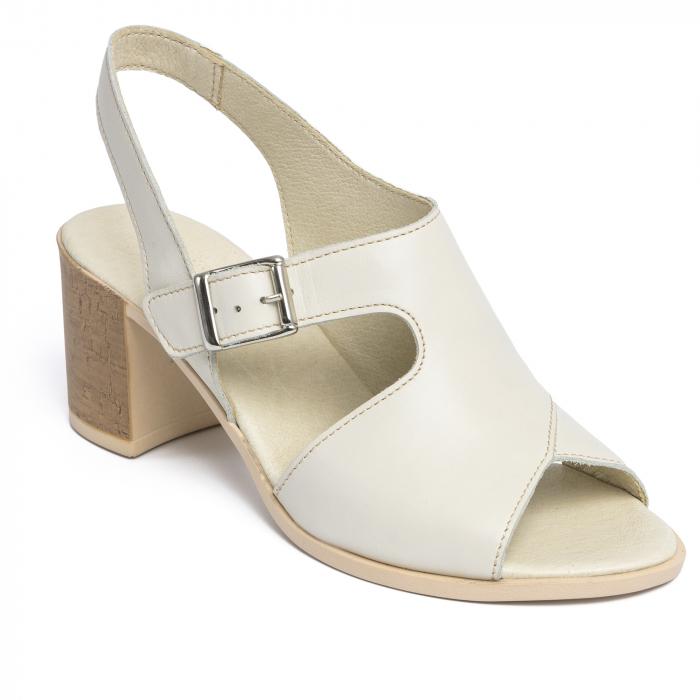 Sandale din piele naturala 279 Crem 2