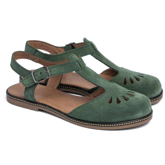 Sandale din piele naturala 281 Verde Velur 1
