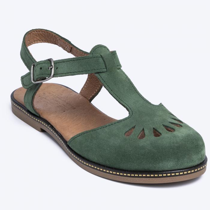 Sandale din piele naturala 281 Verde Velur 2