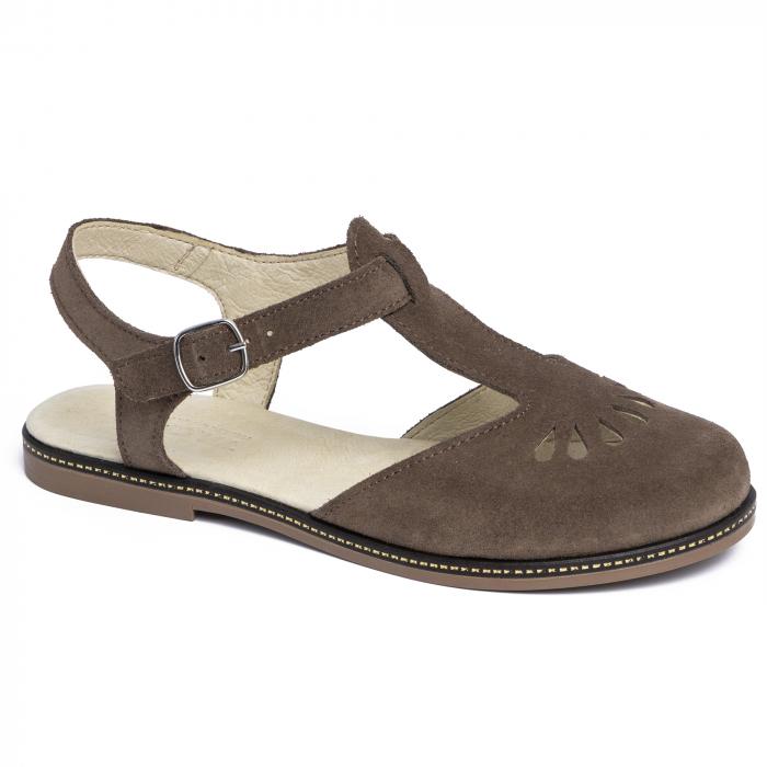 Sandale din piele naturala 281 Maro Velur 0