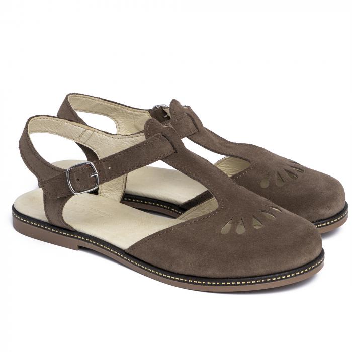 Sandale din piele naturala 281 Maro Velur 1