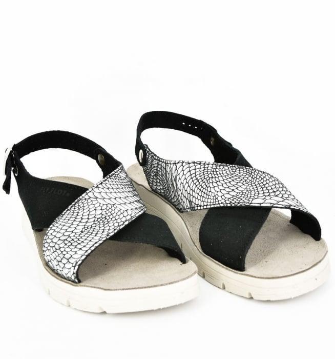 Sandale din piele naturala  FLY FLOT 169 Negru 1