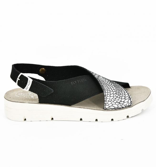 Sandale din piele naturala  FLY FLOT 169 Negru 2