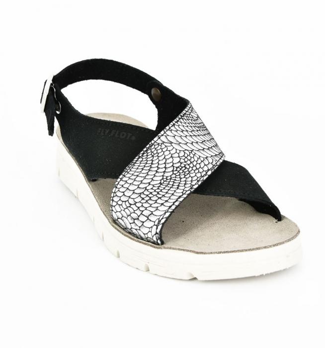 Sandale din piele naturala  FLY FLOT 169 Negru 0