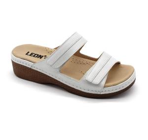 Papuci confortabili dama Leon 410 Alb