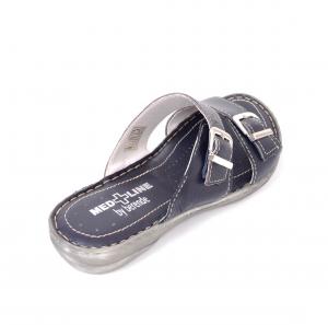 Papuci din piele naturala Medline, 403 Bleumarin2