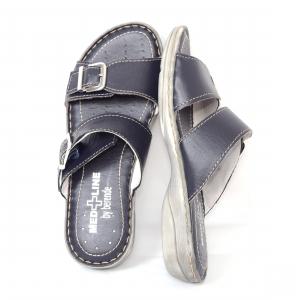 Papuci din piele naturala Medline, 403 Bleumarin3