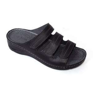 Papuci medicali din piele naturala 255 Negru0