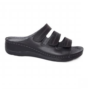 Papuci medicali din piele naturala 255 Negru1
