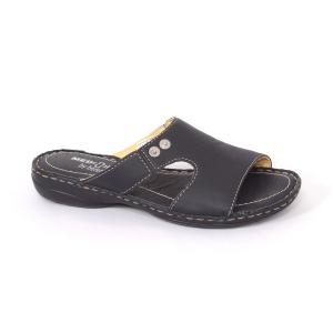 Papuci din piele naturala Medline, 400 Negru0