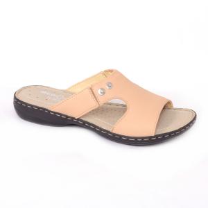 Papuci din piele naturala Medline 400 Bej0