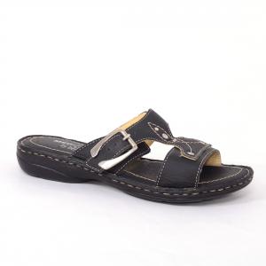 Papuci din piele naturala Medline, 407 Negru0