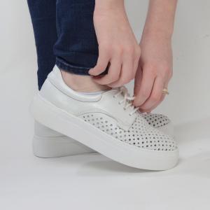 Pantofi casual dama 574 Alb Sidefat3