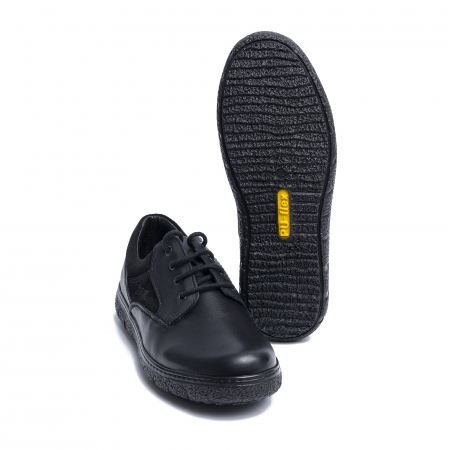 Pantofi casual din piele naturala 1020 Negru [2]