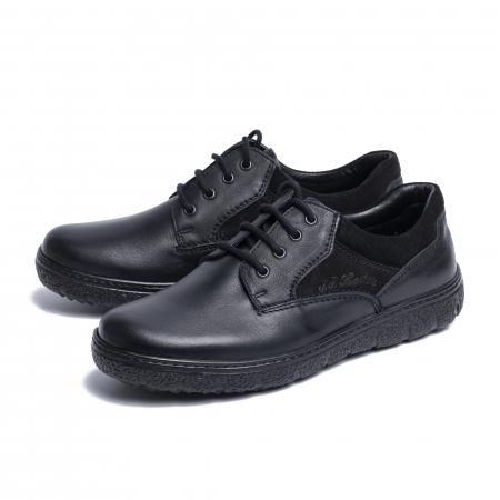 Pantofi casual din piele naturala 1020 Negru [3]